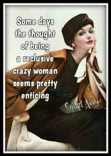 thoughts of being a reclusive crazy woman