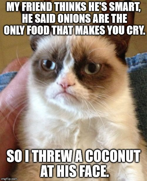 Grumpy Cat | MY FRIEND THINKS HE'S SMART, HE SAID ONIONS ARE THE ONLY…