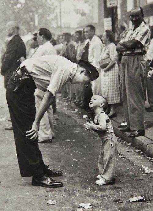 """William C. Beall, """"Faith and Confidence, 1958"""" A policeman speaks to a young b..."""