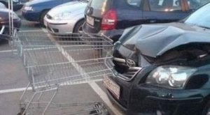 This picture isn't really of a crash but that shopping cart must be made…