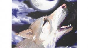 Wolf Dog Howling at moon tan german shephard husky Notepad – dog puppy dogs…
