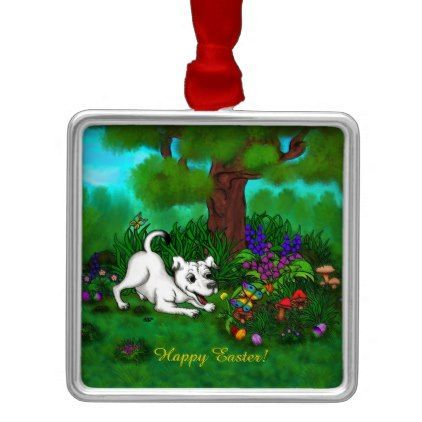 Easter – Puppy Capo and Butterfly Metal Ornament – dog puppy dogs doggy pup…...