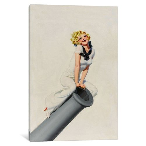 iCanvas Sailor Pinup Girl on Cannon Vintage Poster Gallery Wrapped Canvas Art Print by…
