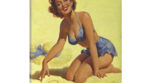 iCanvas Come on Over Beach Pinup Girl Vintage Poster Gallery Wrapped Canvas Art Print…