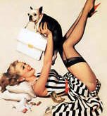 RETRO PINUP GIRL QUALITY CANVAS PRINT Poster Gil Elvgren Lucky Dog
