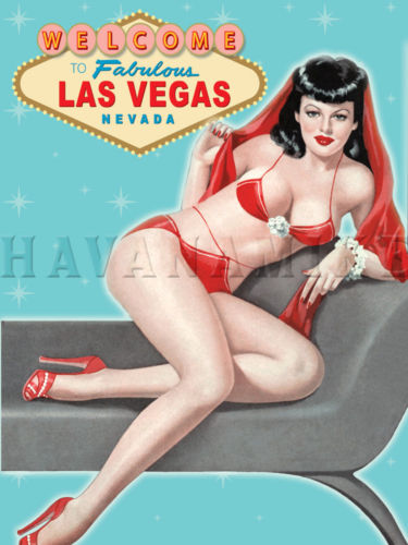 Welcome to Las Vegas Martini Cigar Bar Art Vintage Poster Pinup Girl Print Blue…