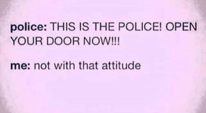 THIS IS THE POLICE OPEN YOUR DOOR NOW | not with that attitude