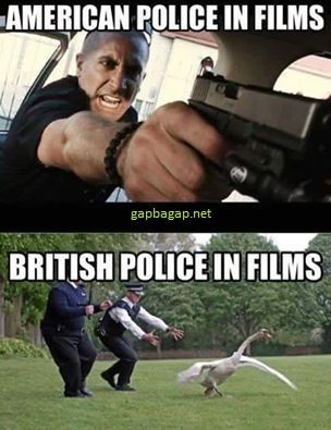 Funny Pictures Of American Police vs. British Police