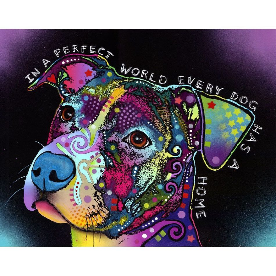 In A Perfect World Pit Bull Dog Wall Sticker Decal by Dean Russo -…