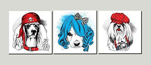 Amoy Art – 3 Piece Funny Dog Wall Art on Canvas Picture Photo Painting…