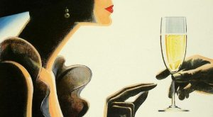 Champagne Girl Vintage Poster Print A3 – Laminated – Art Deco – French P...