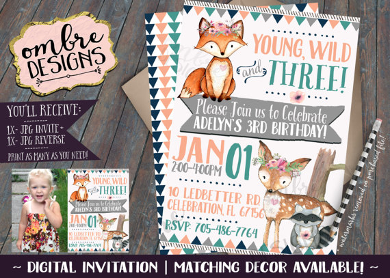 Young, Wild and THREE! This super cute Woodland Invite is perfect for a little…