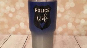 Police Wife Shield Powder Coated Yeti-Style Tumbler / wifey / Police Wife / Custom…