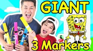 Giant 3 Marker Challenge with Daddy! Gone Wrong Spongebob Edition Epic Fail