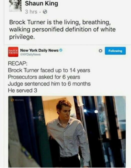 For those of you who don't know, Brock Turner was found raping an unconscious…
