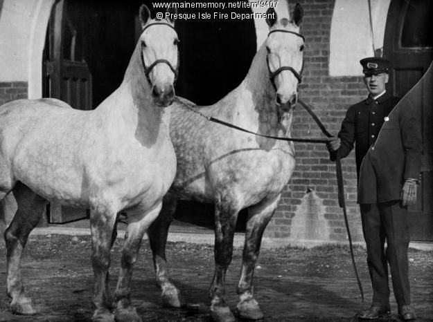 Bird Macey and fire horses, Presque Isle, ca. 1920. Photo taken in front of…