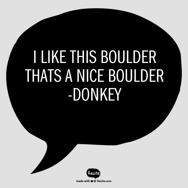 I like this boulder Thats a nice Boulder -Donkey – Quote From #RECITE search…