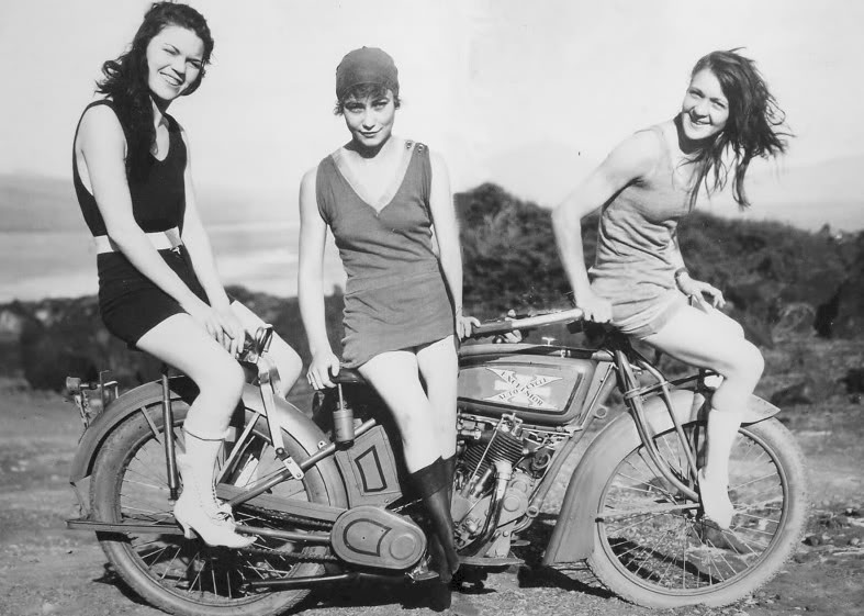 Old photo, girls just wanna have fun, motorcycle, MC, old bike, black and white,…