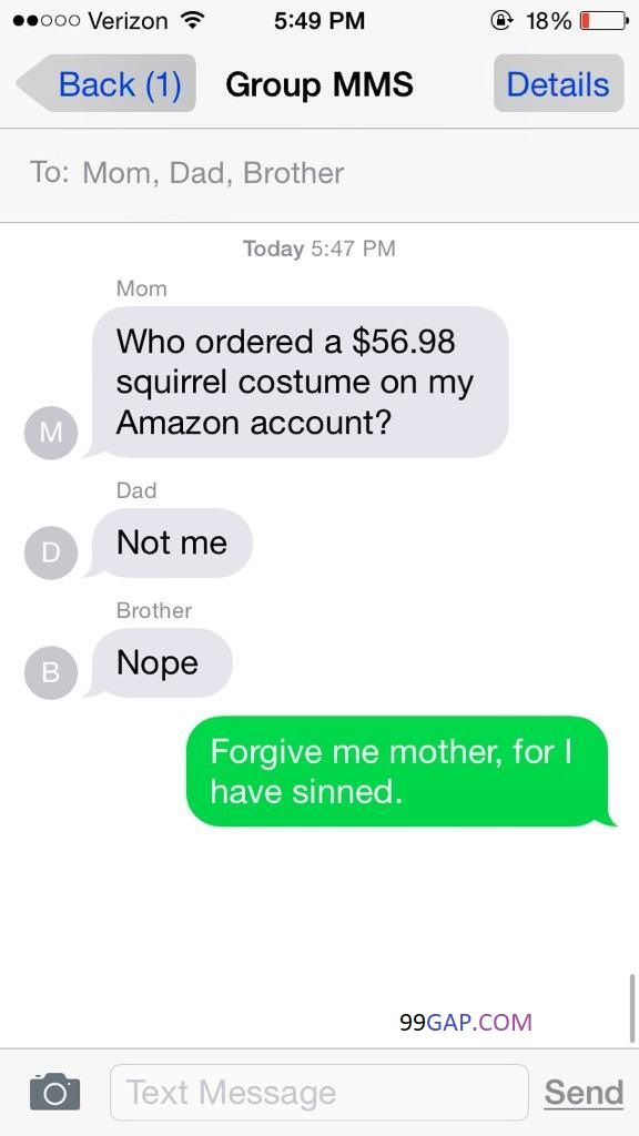 Top 3 FunnyTexts About Amazon vs. Squirrel Costume