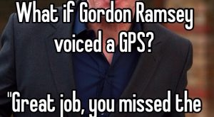 """What if Gordon Ramsey voiced a GPS?""Great job, you missed the bloody exit you..."