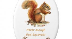 Custom Dated Christmas Fun Red Squirrel Quote Ceramic Ornament – animal gift ideas a...