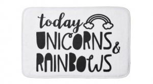 Unicorns and Rainbows Fun Inspirational Bath Mat – funny unicorn unique lol customiz...