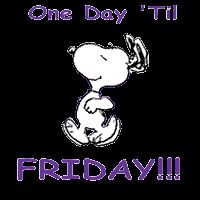 One Day 'Til Friday!!! animated snoopy friday thursday happy thursday thursday greet...