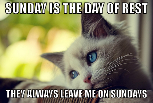 Sunday Is The Day Of Rest They Always Leave Me On Sundays sunday sunday…