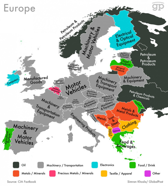 These Maps Show Every Country& #8217;s Most Valuable Exports- Europe