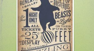Circus Dancing Bear vintage style childrens graphic artwork giclee archival signed artists...