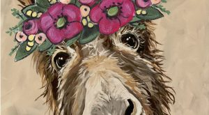 Cute Donkey art prints. Donkey flower crown art, donkey prints, funny donkey art, farmhous...