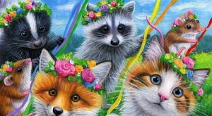 ACEO original cat mouse fox skunk raccoon Maypole spring painting art | Art, Paintings…