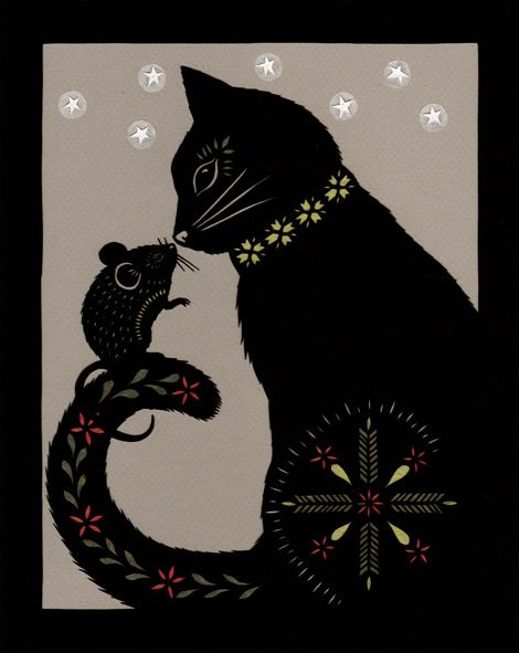 Grimm Brothers: The Cat & Mouse In Partnership (Cut paper art. Angie Pickman)
