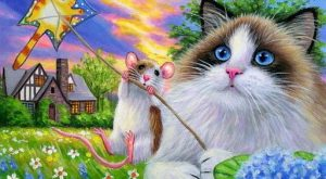 ACEO original ragdoll cat mouse kite house summer sunset painting art | Art, Paintings…