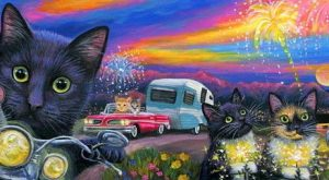 Double Length ACEO cat mouse RV motel Route 66 New Years vacation painting art…