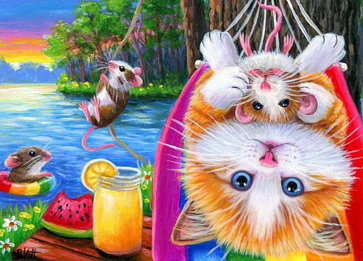 ACEO original cat mouse hammock lemonade lake swimming summer painting art | Art, Painting...
