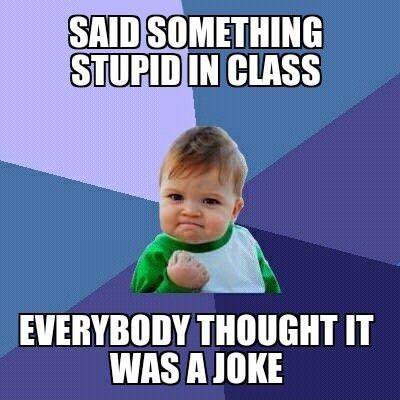 funny caption picture baby fist pump said something stupid in class everyone thought it…...
