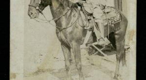 "F. R. Musquiz on a horse. Caption below: ""Capt. 1o F. R. Musquiz"