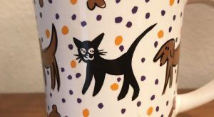 Pfaltzgraff Mug Cup Dog Black Cat Mouse Designer Collection Halloween Colors | Pottery &am...