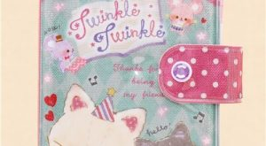 cute green cat mouse shimmery small ring binder sticker book 1