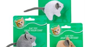 New Greenbrier Kennel Club Plush Cat Mouse Toy w/ Bell Grey Tan White Choice