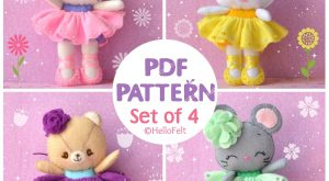 PDF PATTERN: Set of 4, Neki Ballerina & Friends. Felt Doll Cat, Mouse, Bear,…