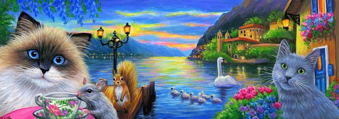 Double Length ACEO cat mouse Lake Como Italy vacation sunset painting art   Art,…