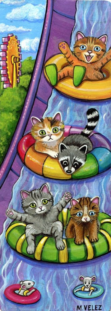 Original Raccoon Cat Mouse Waterpark Slide Swimming Fun Double ACEO Painting #Realism expl...