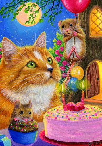 ACEO original cat mouse birthday cake balloons moon tree painting art | Art, Paintings…