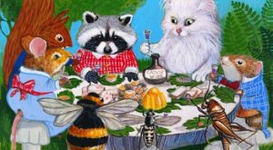 ACEO Original Cat Mouse Raccoon Squirrel Bee Party Bug Art Painting A. Berbling #Miniature...