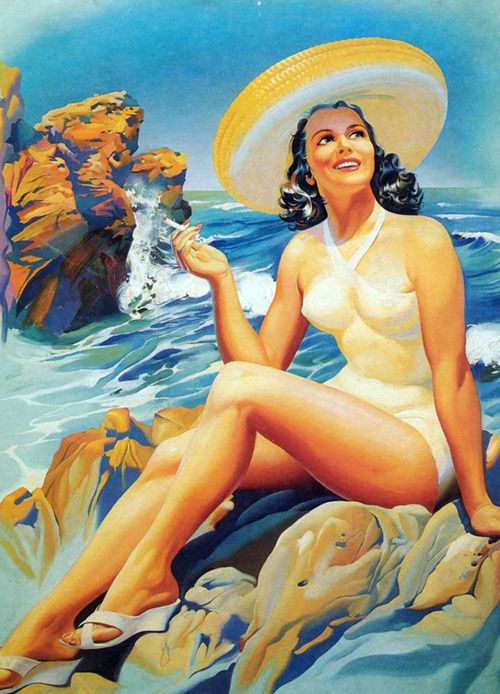 Vintage Mexican pinup girl at the beach
