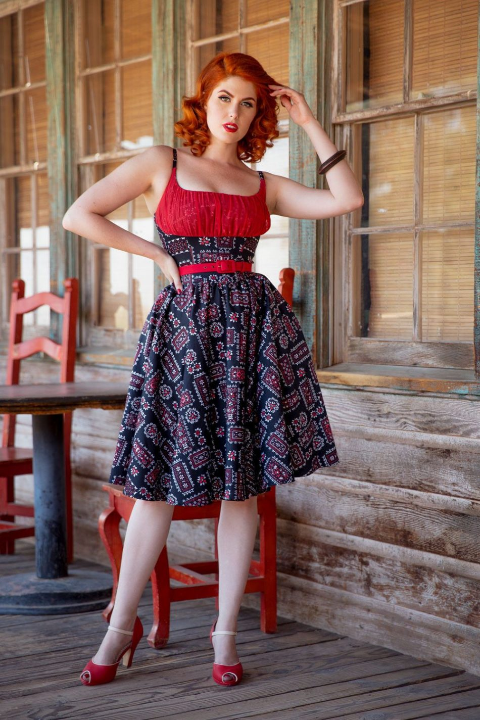 Pinup Couture Holly Swing Dress in Black Bandana Print | Pinup Girl Clothing