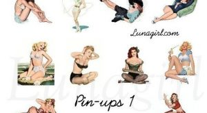 PIN UPS 1 collage sheet DOWNLOAD vintage retro pinup girls women altered art 1940s…
