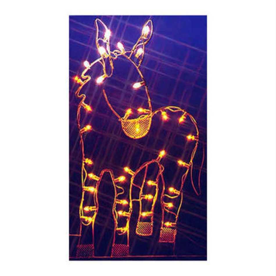 47″ Donkey Nativity Silhouette Lighted Wire Frame Christmas Yard Art Decoration